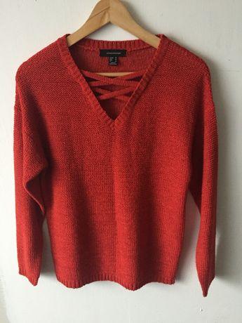 sweter sweterek bluzka czerwona krwista 38 M atmosphere wycięcia