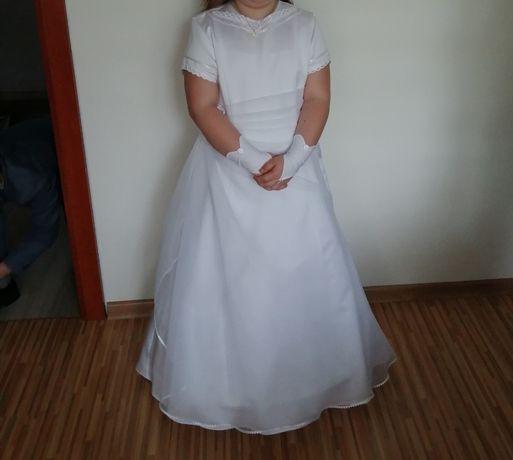 Sukienka komunijna, bolerko i rękawiczki
