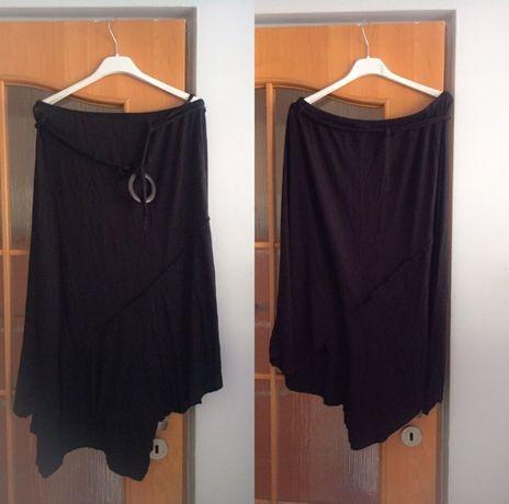 Czarna zwiewna spódniczka klamra evie xl xxl asymetryczna midi