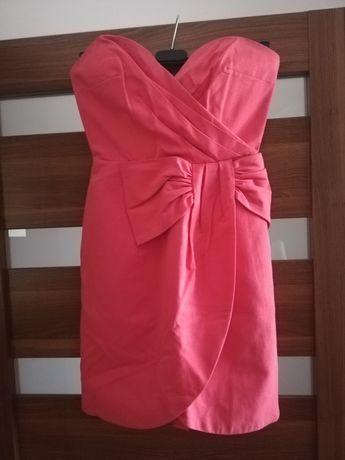 Malinowa sukienka h&m 34 XS wesele