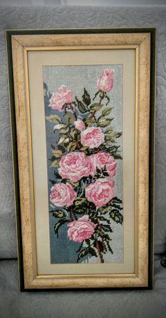 Obraz haftowany kwiaty
