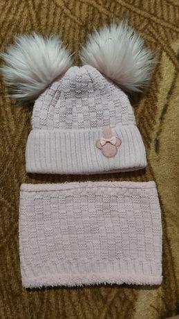 Зимний набор для девочки шапочка и снуд
