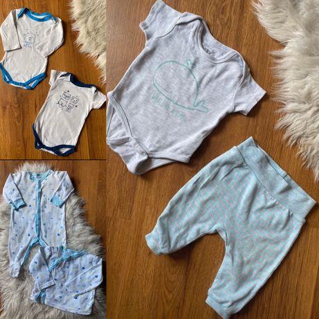 Ubrania wyprawka chłopiec body pajac kaftanik spodenki 62