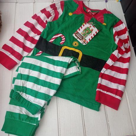 Новая детская пижама 6-8 лет эльф. Новогодняя пижама