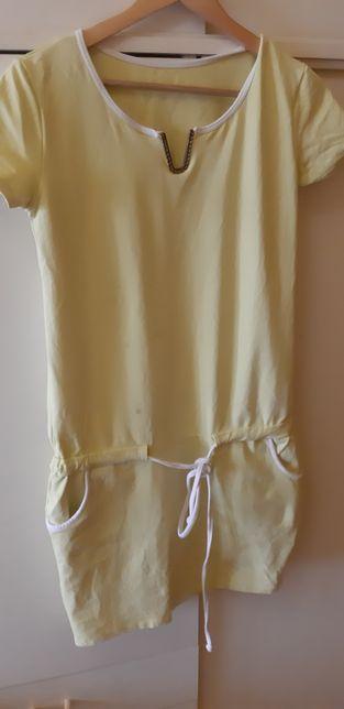 Dresowa sukienka z kieszeniami i troczkiem M/L