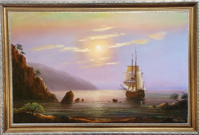 """Картина маслом """"Морская гавань"""". Торг!"""