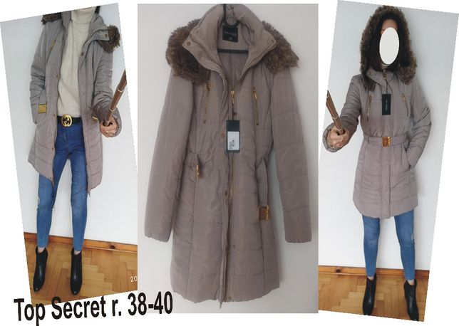 Nowy zimowy beżowy płaszcz - kurtka top secret rozmiar M-L