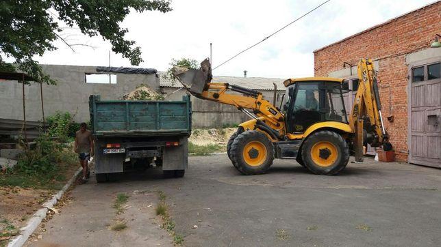 Песок щебень бут гранотсев Грунт вывоз мусора аренда эксковатора JCB