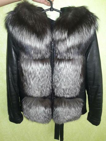 Куртка кожаная,шубка,жилетка с натуральной чернобуркой