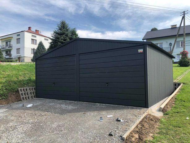 Garaż blaszany dwustanowiskowy 6x5 RAL 7016 Dowolne wymiary  6x6 7x6