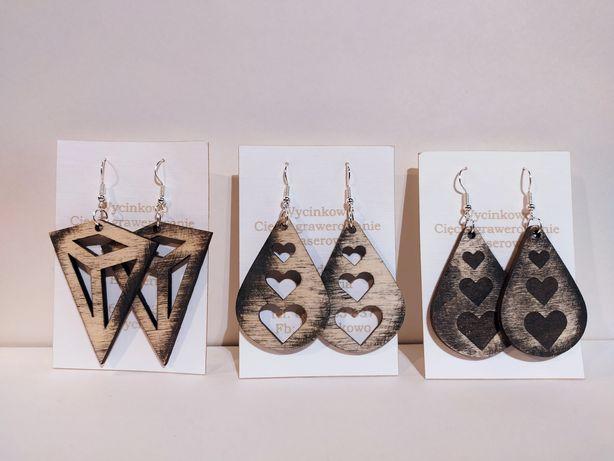 Kolczyki drewniane drewno eko biżuteria cięcie grawerowanie wycinanie