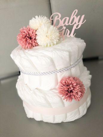 Tort z pampersow torcik babyshower baby girl prezent dla dziecka mamy