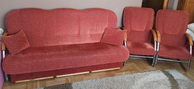Zadbana elegancka kanapa +fotel x2 stal nierdzewna funkcja spania sofa