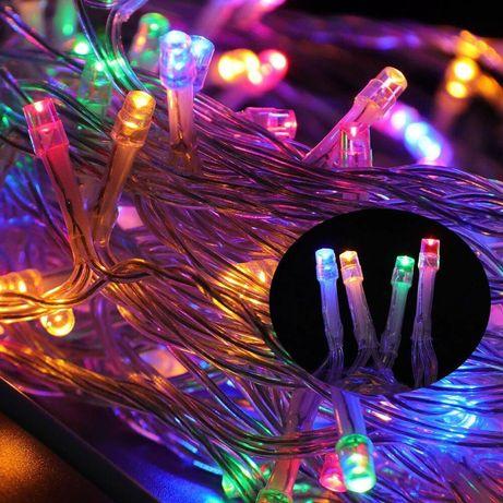Разноцветная светодиодная гирлянда 100 LED 10 метров XMAS, прозрачный