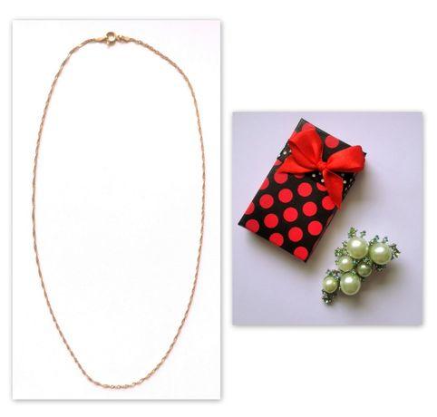 komplet biżuterii złoty łańcuszek próba 585 + perłowa broszka