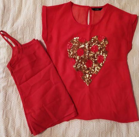 Шифоновая блуза с сердечком из пайеток