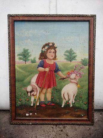Ретро картина маслом,, Девочка и козочки''