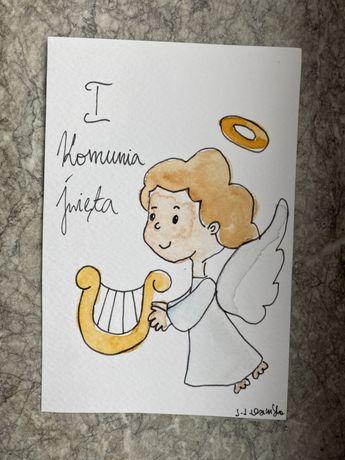 Kartka okolicznościowa pamiątka pierwszej komunii świętej aniołek