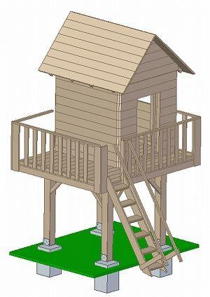 Projekt domek dla dzieci drewniany 3D