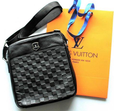 Стильные мужские кожаные сумки мессенджер Louis Vuitton, Луи Виттон