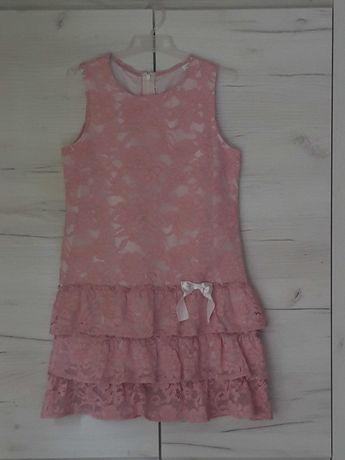 Sukienka 152 cm pudrowy róż falbanka