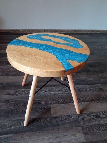 stolik stół okrągły dąb żywica epoksydowa