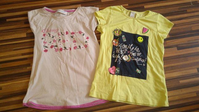 Bluzki 128 dla dziewczynki dwie sztuki żółta różowa