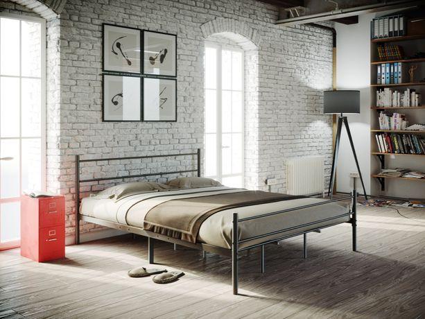 Łóżko metalowe 140x200 mocne i stabilne czarne z materacem