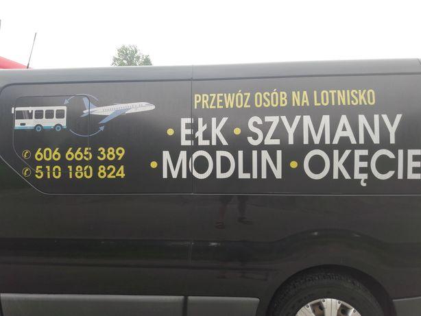 Przewóz osób EŁK-Lotnisko - SZYMANY-MODLIN-OKĘCIE .