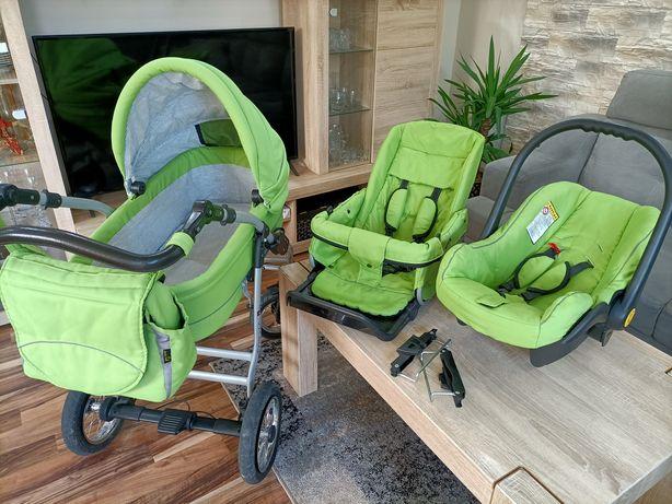 Zielony wózek 3 w 1 firmy Jedo, uniwersalny