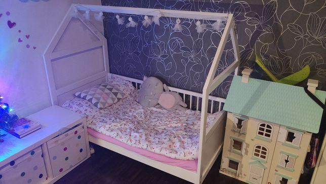 Łóżko DOMEK 140x70 + barierki, białe 2w1 tapczanik