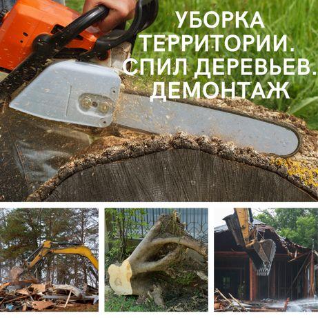 Расчистка участка. Спил деревьев. Демонтаж домов
