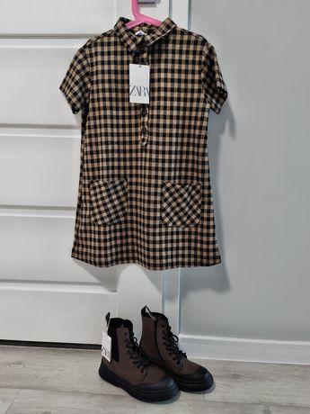 Zestaw wiosenny sukienka w kratkę roz.128 i botki brązowe Zara roz.33