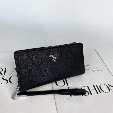 Мужской кожаный кошелёк клатч портмоне Prada чоловічий гаманець