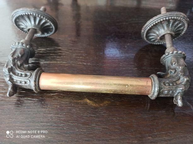 Antyk,klamka, uchwyt miedziano metalowy