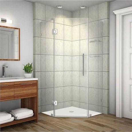 Promocja ! Kabina Prysznicowa PIĘCIOKĄTNA BEZRAMOWA 90x90 szkło 6 mm