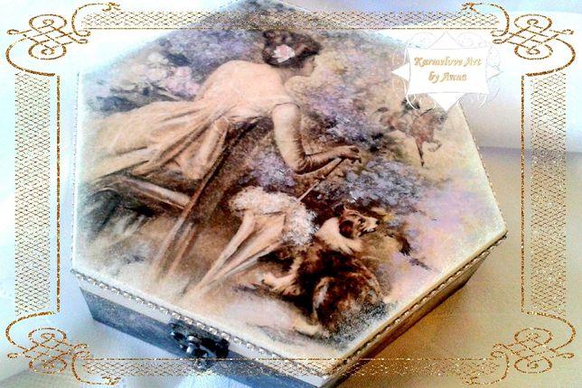 Szkatułka na biżuterię pudełko decoupage rękodzieło prezent
