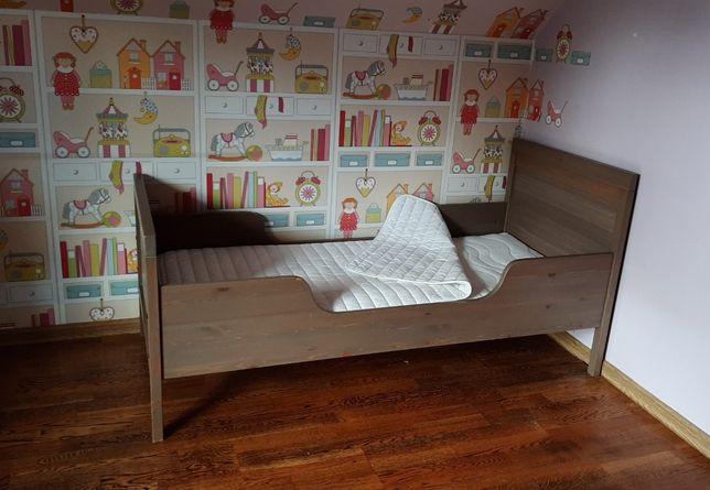 Łóżko Hemnes Ikea szaro brązowe z materacem - dziecięce