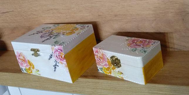 Szkatułki drewniane zestaw decoupage, handmade