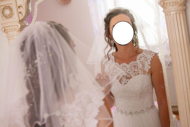 Śliczna suknia ślubna rozm 36, 160 cm wzrostu 2w1