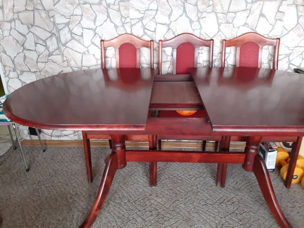 Stół dębowy mocny + 6 krzeseł