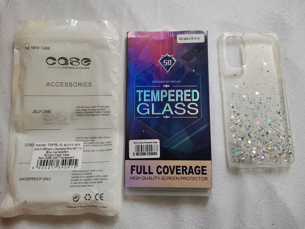 Etui brokatowe + szkło hartowane Samsung s20