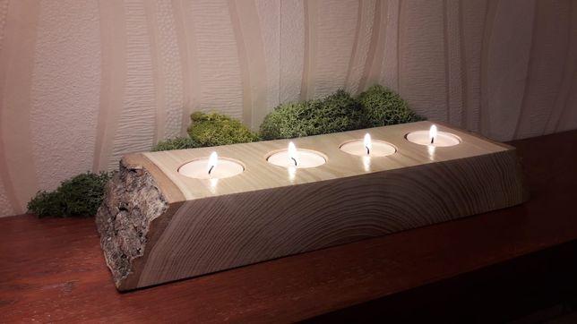HANDMADE - Świeczniki drewniane idealne na prezent.