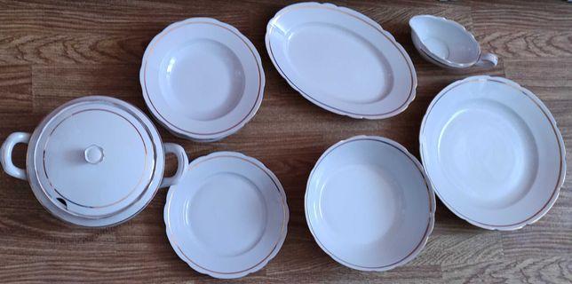 serwis obiadowy- porcelana Ćmielów, Feston, złoty pasek, lata 60-te