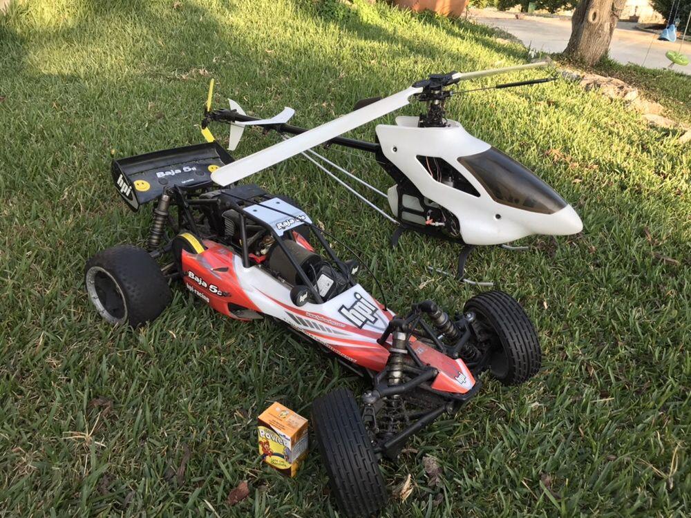 Carro e elicoptero RC gasolina troco por kart ou mota ou drone
