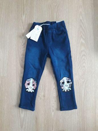 Leginsy ocieplane dziewczęce 98/104 zimowe spodnie dla dziewczynki