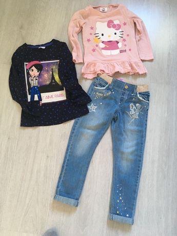 Spodnie F&F + bluzki dziewczynka 116