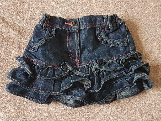 Spódniczka jeansowa, falbanki, regulowana w pasie r.92/98