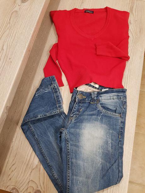 Spodnie dżinsy rurki wąskie Cropp 36 XS