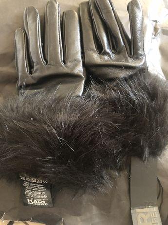 Karl Lagerfeld rękawiczki ze skórki owczej, nowe